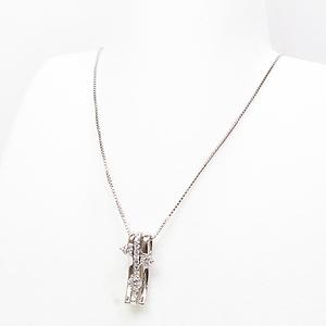 Platinum Diamond Design Necklace 39.5 37cm Pt850 900 (0.50ct) Finished