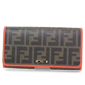 Fendi FENDI Zucca folded wallet dark brown orange PVC coated canvas leather