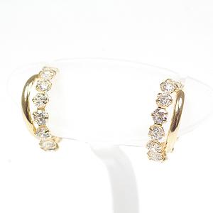 K18 Yellow Gold Cubic Design Earrings CZ YG Zirconia Cross Hoop