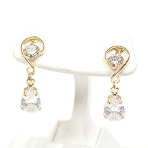 K18 Yellow Gold Cubic Design Earrings CZ K18YG Zirconia Drop Shaped