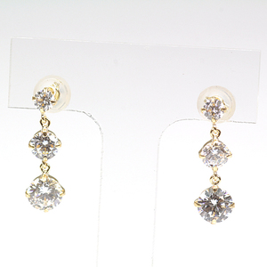 K18 Yellow Gold Cubic Design Earrings K18YG Zirconia 3P CZ Gradation Size Swing