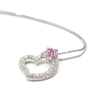 K18WG Heart Diamond Pink Sapphire Necklace 50.5cm (Free Adjuster Adjustable) D0.32 S0.30ct White Gold Flower Finished