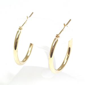 K18 yellow gold hoop earrings diameter 2.0 cm width 2 mm 1.2 g YG