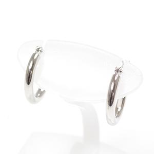 K14 White Gold Hoop Earrings 1.3cm in diameter 2mm width K14WG