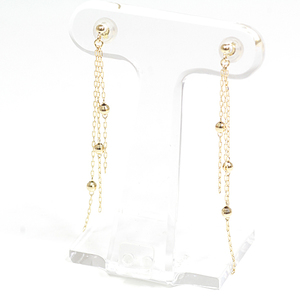 K18 yellow gold ball chain with a long earrings 5.3 cm 0.8 g swaying YG tassel