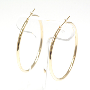 K18 yellow gold hoop earrings diameter 4.0 cm width 2 mm 2.3 g YG