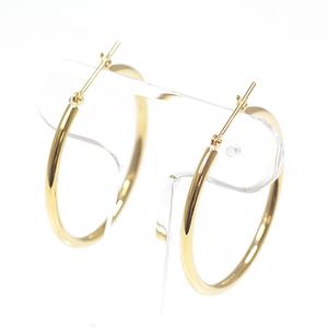 K18 Yellow Gold Hoop Earrings 3.0 cm in diameter 2 mm width YG