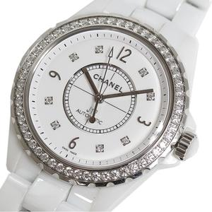 Chanel CHANEL J12 38 H3111 Diamond Bezel 8P White Automatic Rolled Mens Watch