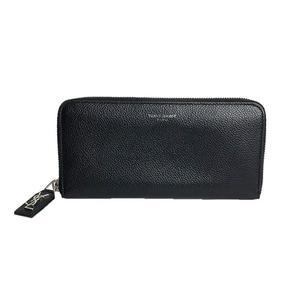 Saint Laurent SAINT LAURENT round zipper long wallet 414680 calfskin black women