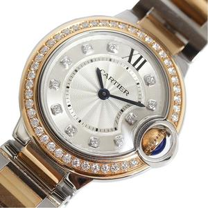 Cartier Baron Blue 28mm WE902076 PG SS Diamond Bezel Quartz Ladies Watch