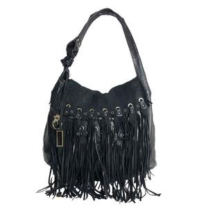 Jimmy Cho JIMMY CHOO Fringe Semi-shoulder Bag Leather Suede Black Women