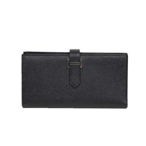 HERMES BEANSFREE EPSON A 刻 Noir Silver clasp Long wallet
