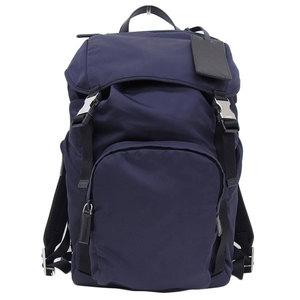 Genuine PRADA Prada nylon bag pack blue silver clasp model number: 2VZ 135 leather