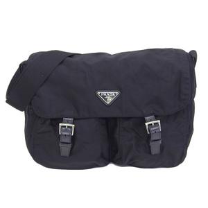 Genuine PRADA Prada nylon W pocket shoulder bag black leather