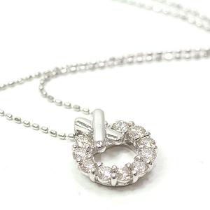 K18WG Diamond Design Necklace 40 36cm 0.50ct Wreath Ribbon White Gold