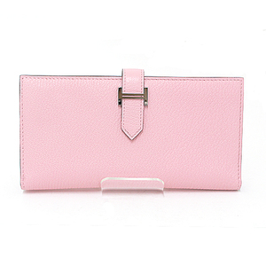 HERMES BEAN double fold long wallet shave Rose cherry Silver hardware D stamped (made in 2019)