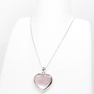 K18WG Shell Heart Pendant Necklace 45.5cm (Free Adjuster Adjustable) White Pink Reversible Gold