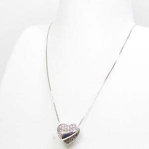 K18WG Heart Design Diamond Necklace 45cm (Free Adjuster Adjustable) D0.18 0.07ct Brown White Gold