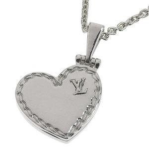 Genuine LOUIS VUITTON Louis Vuitton K18WG Heart Necklace Locket Pendant 11.4g