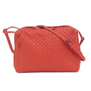 Genuine BOTTEGA VENETA Bottega Veneta Intre Shoulder Bag Red Leather