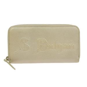 Genuine BVLGARI Bulgari Round zipper Long wallet Beige Logo Leather