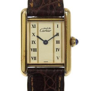 Authentic Cartier Tank Vermeil Ladies Quartz Wrist Watch Model Number: 5057001