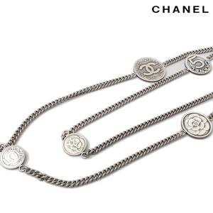 Chanel Long Necklace Pendant CHANEL CC Mark Antique Mademoiselle Camellia Coin A39864