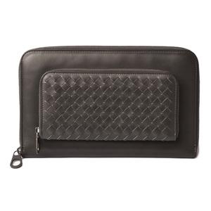 Bottega Veneta Long wallet travel case BOTTEGA VENETA round zipper dark gray 402712 Outlet