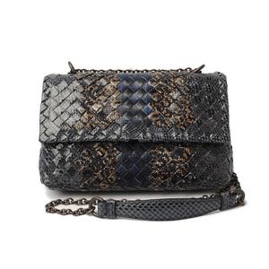 Bottega Veneta Chain Bag BOTTEGA VENETA Olympia Snake Club Baby Gray Navy 405739