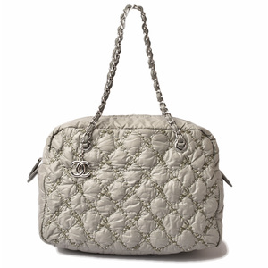 Chanel Shoulder bag Chain CHANEL Paris Bisanth Light gray khaki silver metal fittings quilting
