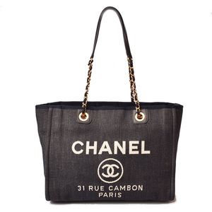 CHANEL Tote Bag Shoulder Deauville Medium Chain A67001 Blue White Gold Hardware