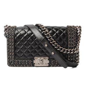 Chanel Chain Shoulder Bag CHANEL Matrasse Boy Vintage Leather Black