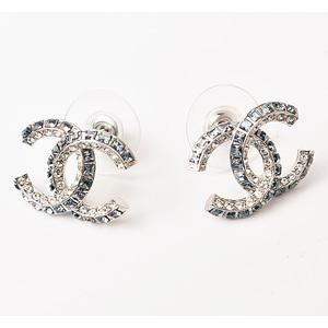 Chanel Pierced Earrings CC Mark Rhinestone Blue Silver AB0900 Y02003