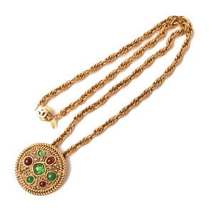 Chanel Long Necklace Pendant CHANEL Rhinestone Vintage Gold