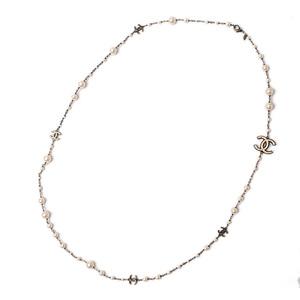 Chanel Long Necklace Pendant CHANEL CC Mark Pearl Gunmetal Off White