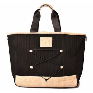 CHANEL Shoulder bag tote Jersey material mesh black beige