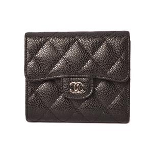 Chanel wallet CHANEL 3-fold A82288 caviar skin Black Bordeaux Silver hardware