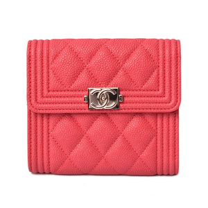 Chanel Purse CHANEL Boy Matrasse 3 fold wallet A80734 Coral Red Silver hardware