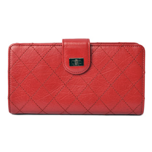 Chanel Wallet CHANEL Long Leather Rouge Red Vintage Silver Hardware