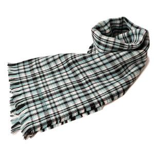 Bottega Veneta Scarf Winter Stole BOTTEGA VENETA 100% Wool Fringe 5209653 SCARF Light Blue Black