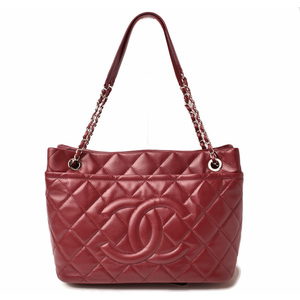 CHANEL Shoulder bag Chain tote caviar skin rouge red silver clasp