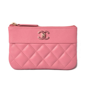 Chanel Pouch Card Case Coin CHANEL Sheepskin Matras Rose Gold A70119