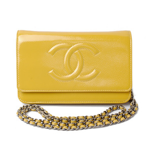 Chanel Long wallet chain shoulder bag CHANEL A33814 patent leather mustard silver hardware