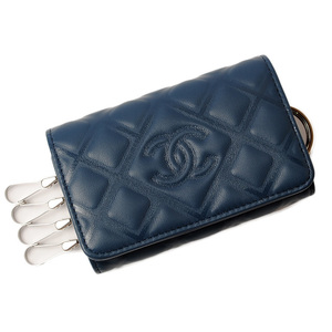 Chanel key case ring CHANEL 4 stations matrasse stamped CC mark navy A84515