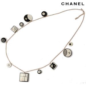 CHANEL Long Necklace Pendant CC Mark Square Circle Rhinestone Black Cream A36864