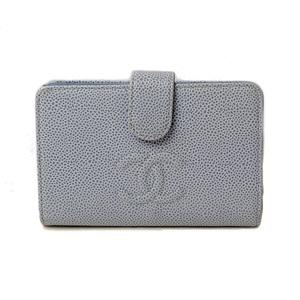 CHANEL fold wallet A50073 CC mark caviar skin light blue