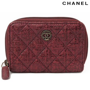 Chanel coin case card CHANEL A68917 tweed quilted coated Bordeaux vintage gold