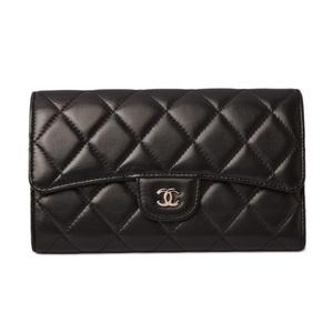 Chanel Purse CHANEL Long Wallet 3 fold A31506 Timeless Classic Matrasse Lambskin Black Bordeaux