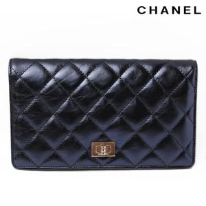 Chanel Purse CHANEL 2-fold wallet Shiny Matrasse Blue Metallic A35304