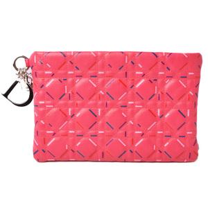 Christian Dior Clutch Bag Pouch Lady Pink Multi